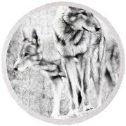 Alpha Male Black And White Round Beach Towel