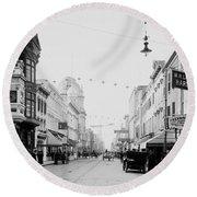 King Street In Charleston South Carolina Circa 1910 Round Beach Towel