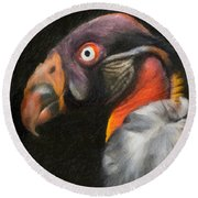 King Vulture - Impasto Round Beach Towel