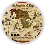 Kingdoms Of Magic Battle Map Round Beach Towel