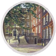 Kings Bench Walk, Inner Temple Oil On Canvas Round Beach Towel