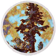 Kings River Canyon Colorized Round Beach Towel