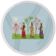 Kings With Gifts Round Beach Towel
