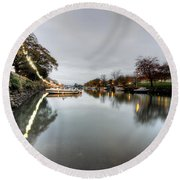Kingsbridge Reflections  Round Beach Towel