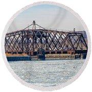 Kinnickinnic River Swing Bridge Round Beach Towel