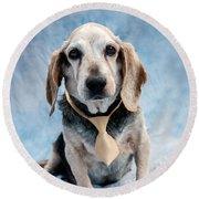 Kippy Beagle Senior And Best Dog Ever Round Beach Towel