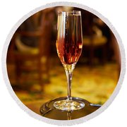 Kir Royale In A Champagne Glass Round Beach Towel