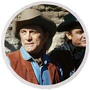 Kirk Douglas Johnny Cash A Gunfight  Old Tucson Arizona 1971 Round Beach Towel