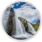 Kirkjufellsfoss Waterfalls, Church Round Beach Towel
