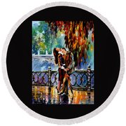 Kiss After The Rain - Palette Knife Oil Painting On Canvas By Leonid Afremov Round Beach Towel