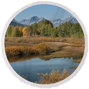 Kiss Of Fall In The Grand Tetons Round Beach Towel