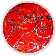 Kissing Couple Round Beach Towel