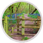 Kissing Gate Painting. Round Beach Towel