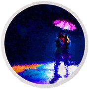 Kissing In The Rain Round Beach Towel