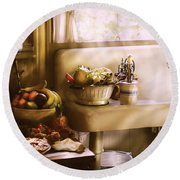 Kitchen - A 1930's Kitchen  Round Beach Towel by Mike Savad