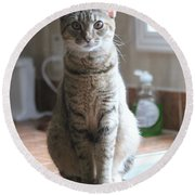 Kitchen Cat Round Beach Towel