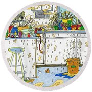 Kitchen Catastrophe Round Beach Towel