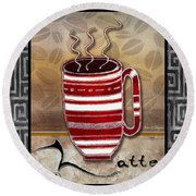 Kitchen Cuisine Hot Cuppa Coffee Cup Mug Latte Drink By Romi And Megan Round Beach Towel