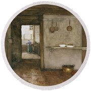 Kitchen Interior, C.1899 Round Beach Towel