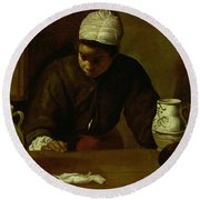 Kitchen Maid With The Supper At Emmaus, C.1618 Oil On Canvas Round Beach Towel
