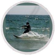 Kite Boarding Fun  Round Beach Towel