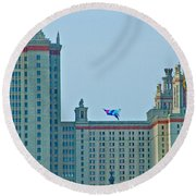 Kite Over Moscow University In Moscow-russia Round Beach Towel