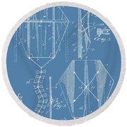 Kite Patent On Blue Round Beach Towel