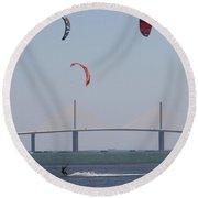 Kite Surfer And Skyway Bridge Round Beach Towel