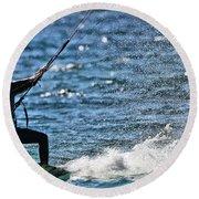Kite Surfing Splash Round Beach Towel by Dan Sproul