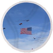 Kites On Ice Round Beach Towel