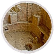 Kiva With Sipapu In Spruce Tree House On Chapin Mesa In Mesa Verde National Park-colorado Round Beach Towel
