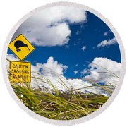 Kiwi Crossing Road Sign In Nz Round Beach Towel