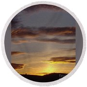 Klamath Golden Sunset Round Beach Towel