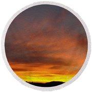 Klamath Sunset Of Fire Round Beach Towel