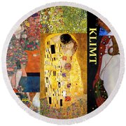 Klimt Collage Round Beach Towel