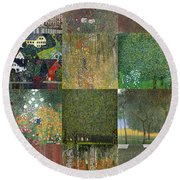Klimt Landscapes Collage Round Beach Towel