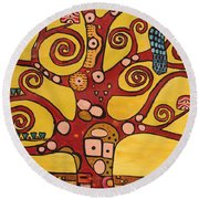 Klimt Study Tree Of Life Round Beach Towel