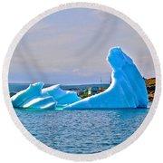Kneeling Before The Queen Iceberg In Saint Anthony-newfoundland  Round Beach Towel