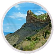 Knife Edge Road Overlooking Montezuma Valley In Mesa Verde National Park-colorado  Round Beach Towel