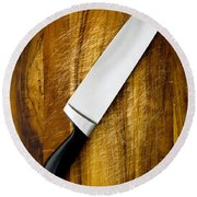 Knife On Chopping Board Round Beach Towel