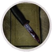Knife With Book Round Beach Towel