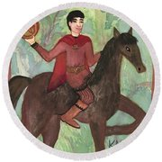 Knight Of Pentacles Round Beach Towel