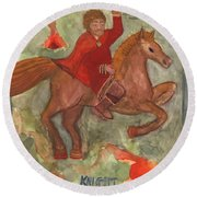 Knight Of Wands Round Beach Towel