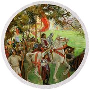 Knights Assembling, From Sir Nigel Round Beach Towel
