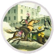Knights Jousting Round Beach Towel