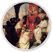Knights Of The Order Of St John Of Jerusalem Restoring Religion In Armenia Round Beach Towel