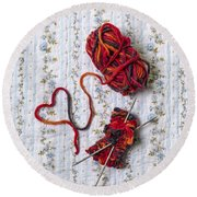 Knitted With Love Round Beach Towel