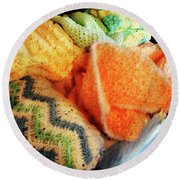 Knitting For Baby Round Beach Towel