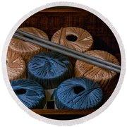 Knitting Yarn In A Wooden Box Round Beach Towel