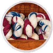 Knitting Yarn In Patriotic Colors Round Beach Towel